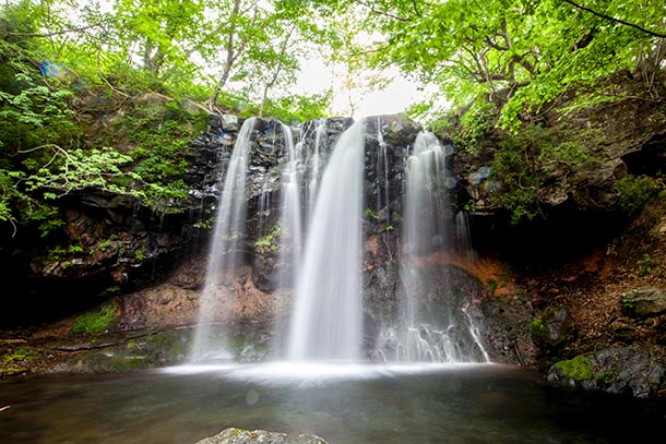 その美しさ、振り返らず滝 栃木那須園塩原