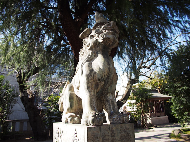 「青山熊野神社」(神宮前・青山の総鎮守)の風格ある狛犬